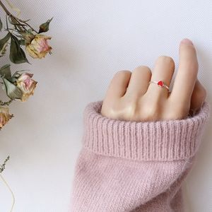 Dainty Mini Red Heart Silver Adjustable Ball Ring